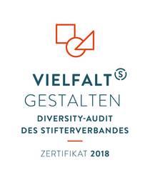 Logo mit dem Schriftzug: Vielfalt Gestalten - Diversity-Audit des Stifterverbandes - Zertifikat 2018