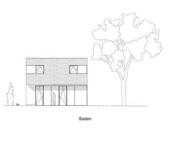 Skizzenzeichnung des Haus, das die Studentinnen Lisa Hofmann und Charlott Walter entworfen haben.