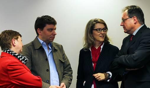 Prof. Dr. Christiane Fritze, Jan-Ulrich Bittlinger, Prof. Anne Bergner und Stephan Horn  im Gespräch