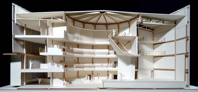 Schnittansicht des Modells des Globe Theaters