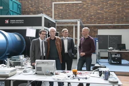 Philipp Epple, Klaus Ospald, Michael Lichtlein und Christian Holtorf im Strömungslabor