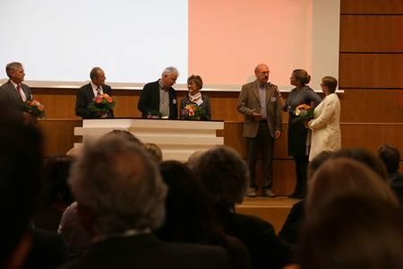 Die ehemaligen Professoren im Gespräch mit Moderatorin Ulrike Noll und Präsidentin Christiane Fritze