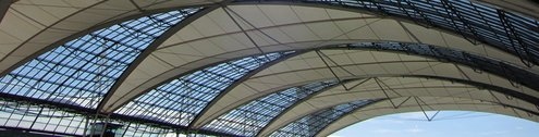 Roof with glass elements