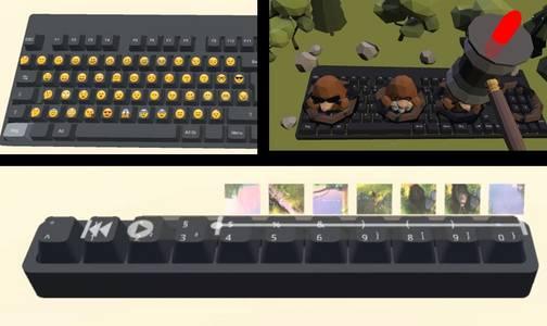 Emojis werden auf einer Tastatur virtuell eingeblendet (oben links).