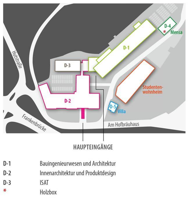 Ein Lageplan des Campus Design