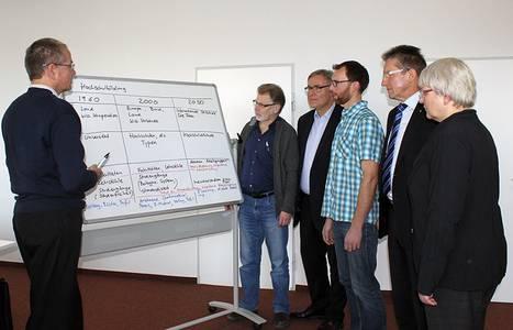 Prof. Dr. Kai Hiltmann (Dozent), Heinz Rembor (Student), Dr. Thomas Kneitz (Dozent), Martin Eisenreich (Student), Hans Rebhan, Vorstand des IZK und Prof. Dr. Jutta Michel (v.li.)
