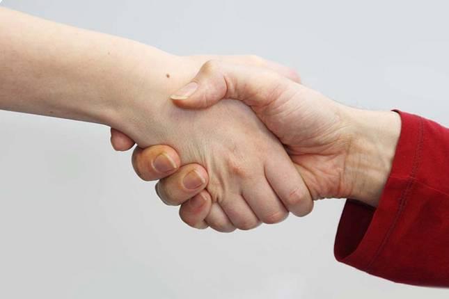 Ausschnitt der Hände zweier Personen, die sich begrüßen