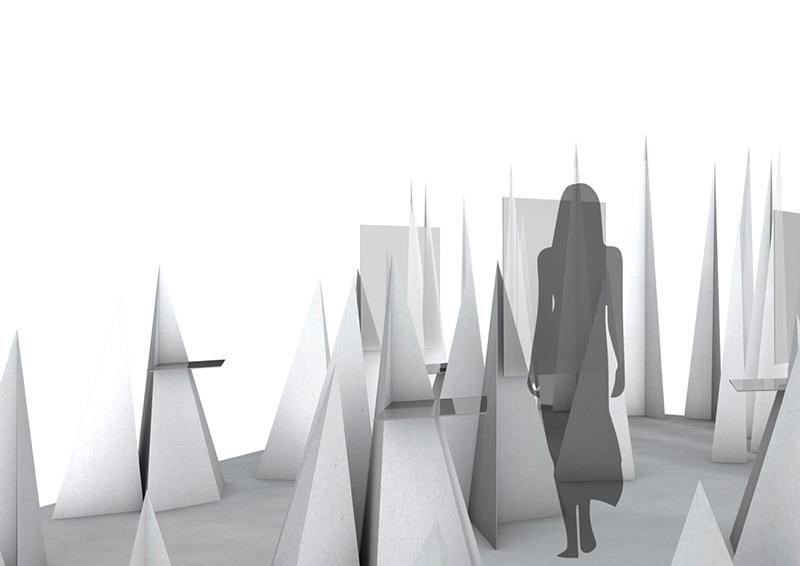 Messestand-Modell mit Pyramiden