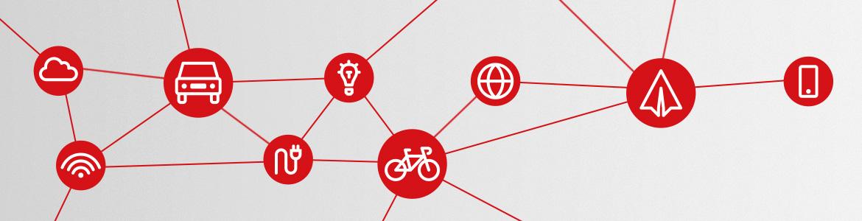 Symbole, die Formen der Mobilität darstellen: Flugzeug, Fahhrad, Auto