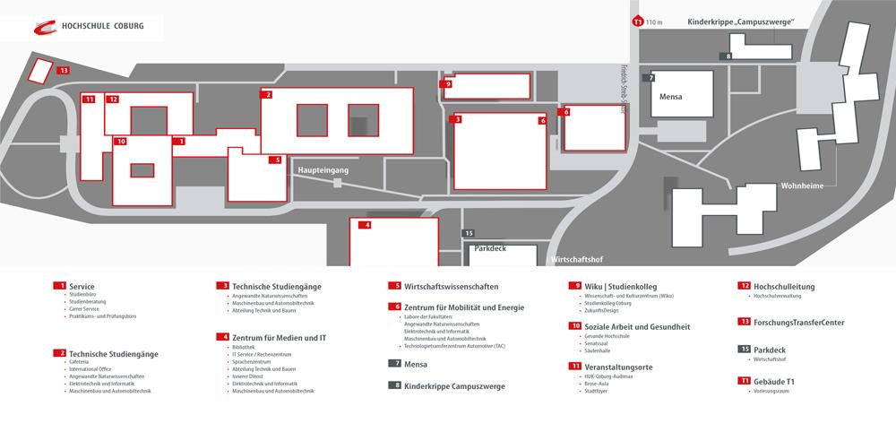 Ein Lageplan mit den Gebäuden des Campus Friedrich Streib.
